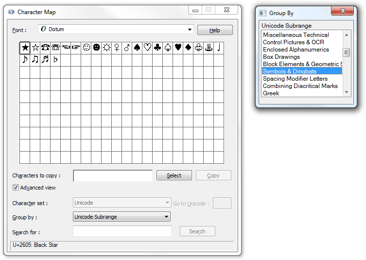 Dingbats? In My Fonts?