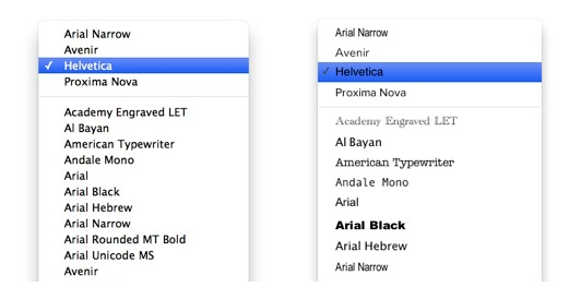 Font Preview iWork Pages