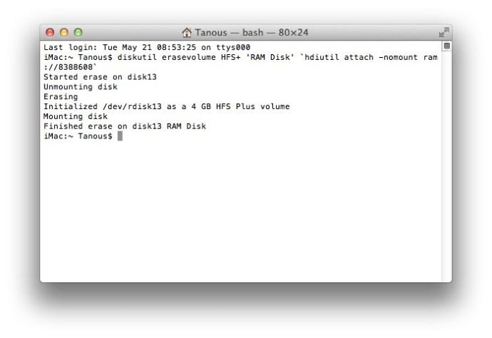 OS X RAM Disk Terminal