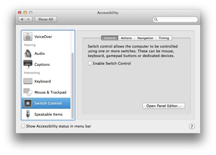 Enable Assistive Devices Mavericks