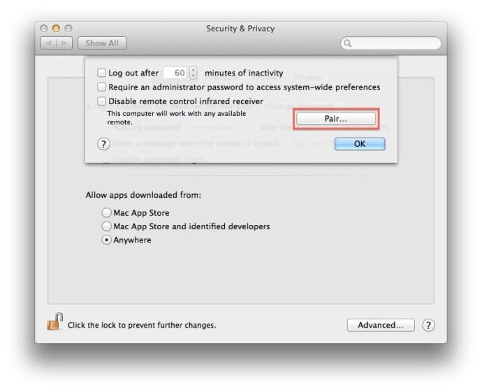 Mac OS X Disable Pair IR Remote