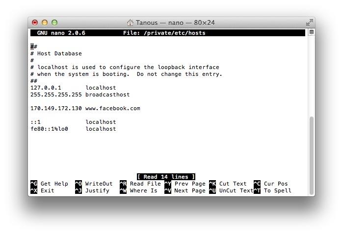 edit host file on mac lion