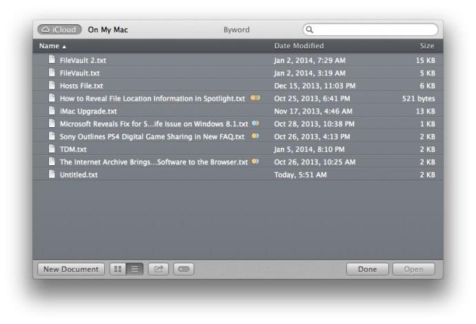 iCloud-dokument