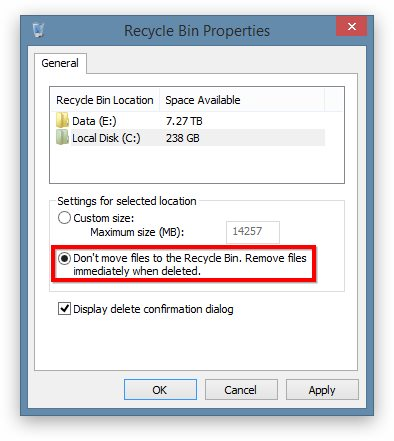 How to Disable the Recycle Bin in Windows