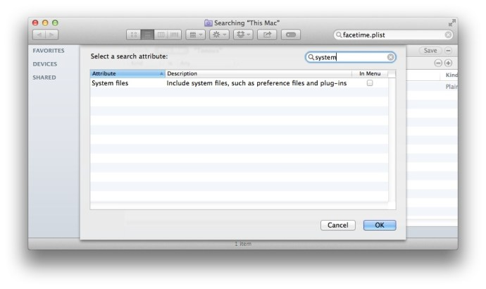 Mac OS X Finder Search System Files