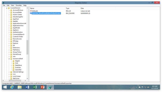 Windows 8.1 Uppdatering 1 Startskärm Strömknapp Registry Setting