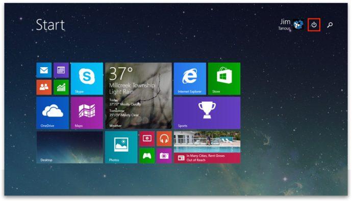 Windows 8.1 Update 1 Startknapp Strömbrytare