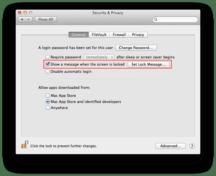 Systeminställningar för Mac-låsskärm