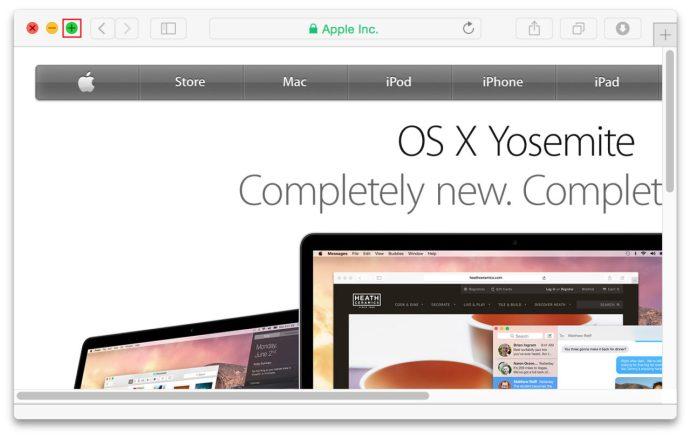 OS X Yosemite Zoom Button Option