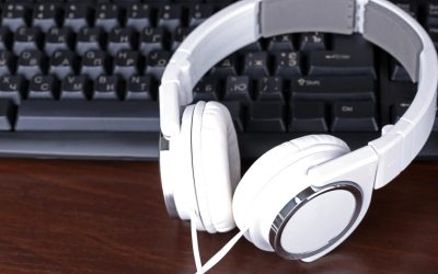 Computer headphones on keyboard