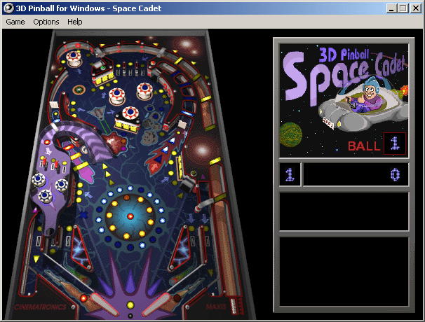 Windows Pinball 3D Space Cadet