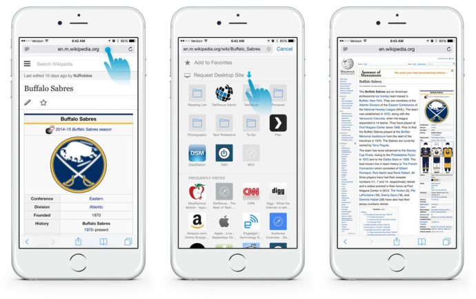 iOS 8 Request Desktop Site
