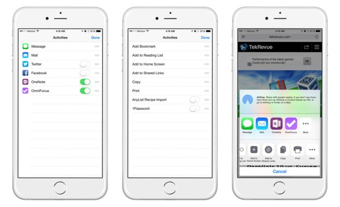 iOS 8 iPhone Customize Share Sheets