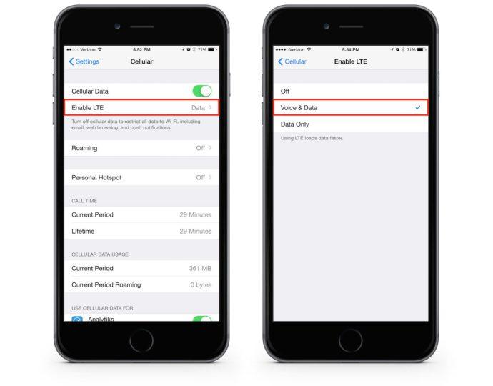 Enable voLTE Verizon iPhone 6