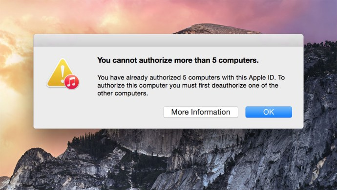authorize iTunes 5 computer limit