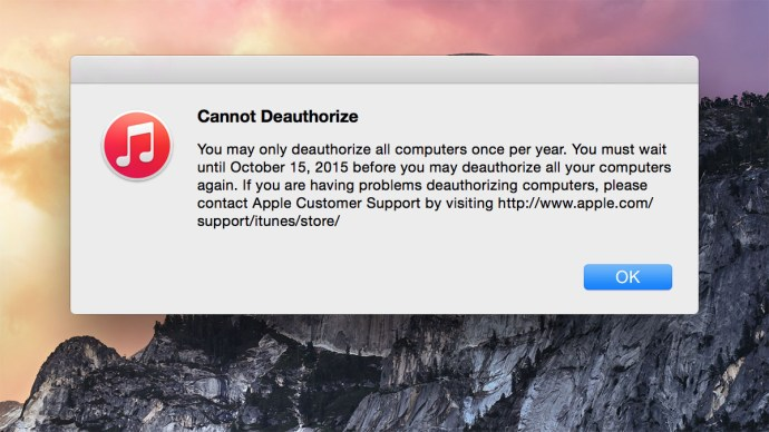 iTunes deauthorize all limit