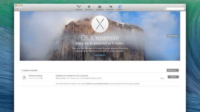 mac app store os x yosemite update banner