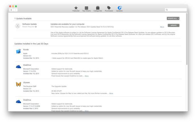 mac app store recent updates