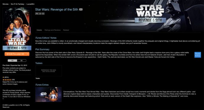 revenge of the sith itunes