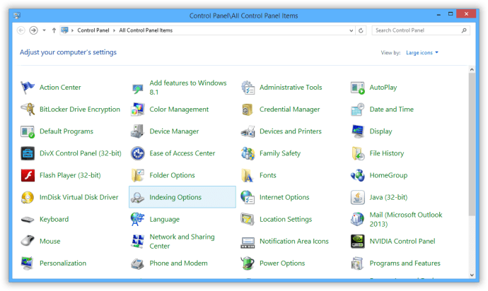 windows 8 control panel indexing options