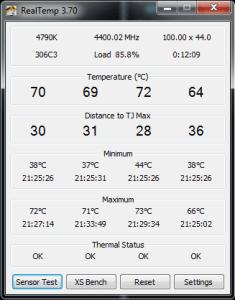 Screenshot of RealTemp Monitoring Screen
