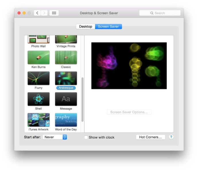 system preferences screen saver