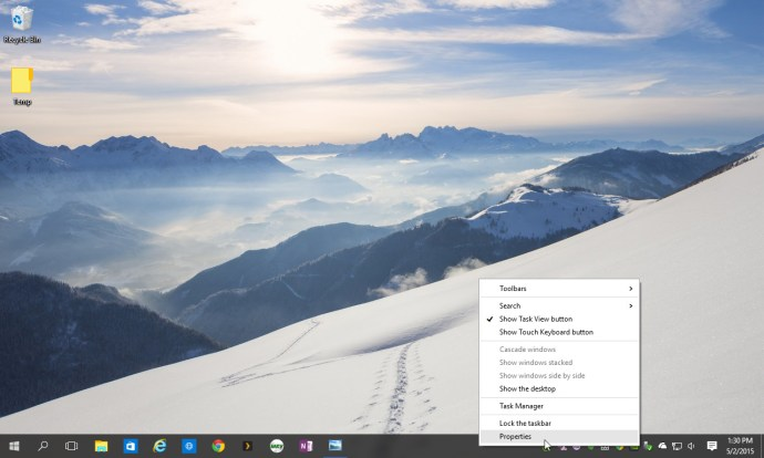 windows 10 taskbar properties