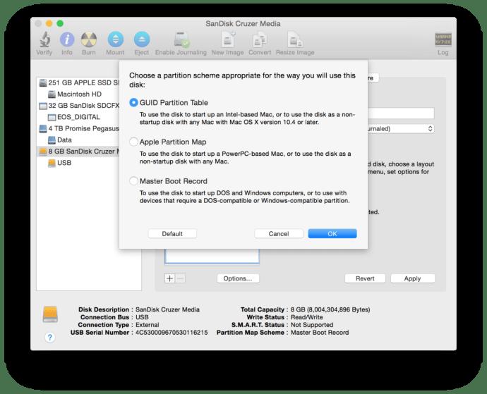 os x disk utility partition scheme