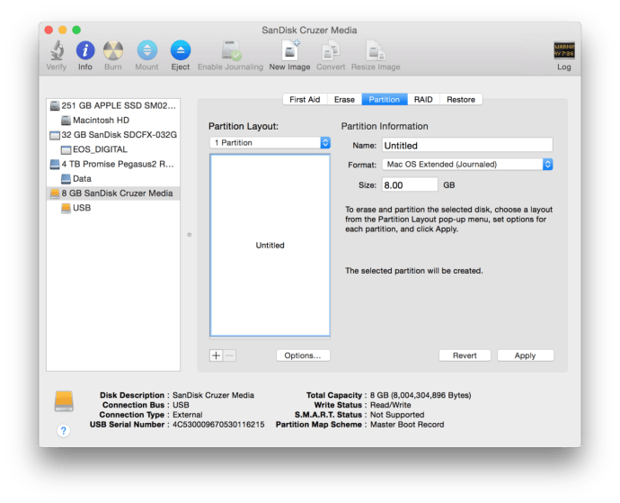 os x disk utility usb partition
