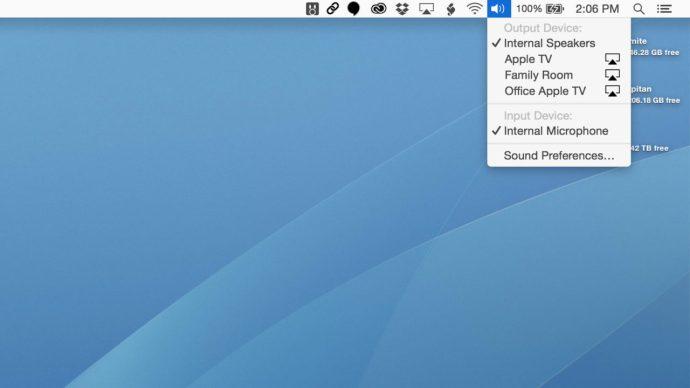 airplay devices option key menu bar