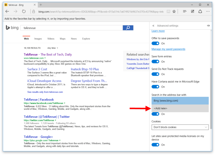 microsoft edge search settings