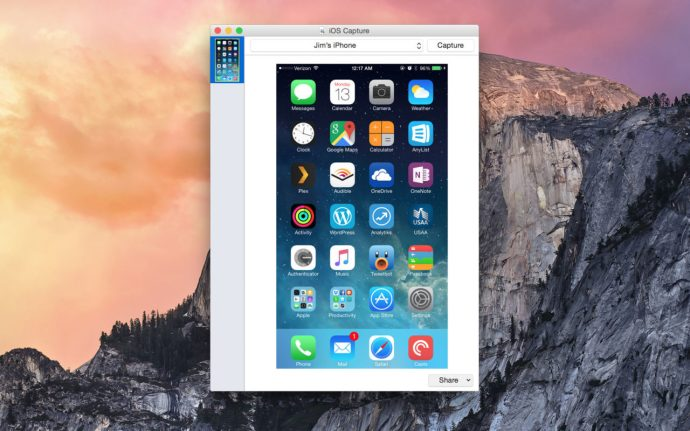 iOS capture homescreen screenshot