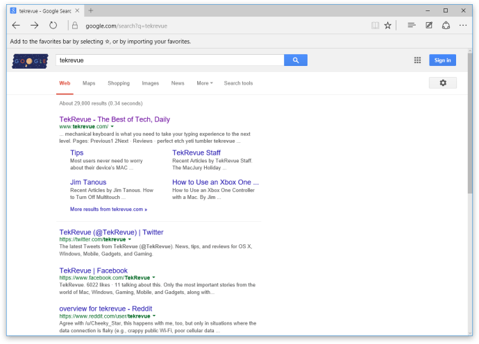microsoft edge google search