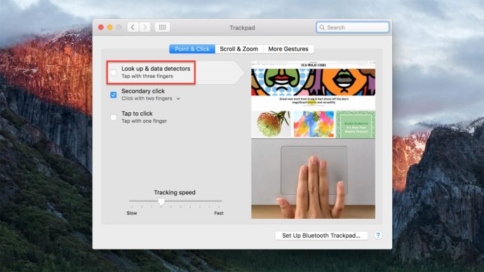 mac preferences trackpad look up data detectors