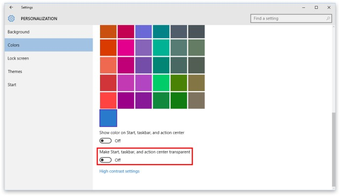 windows 10 settings personalization colors
