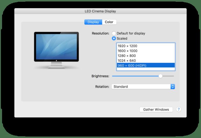 hidpi os x display preferences