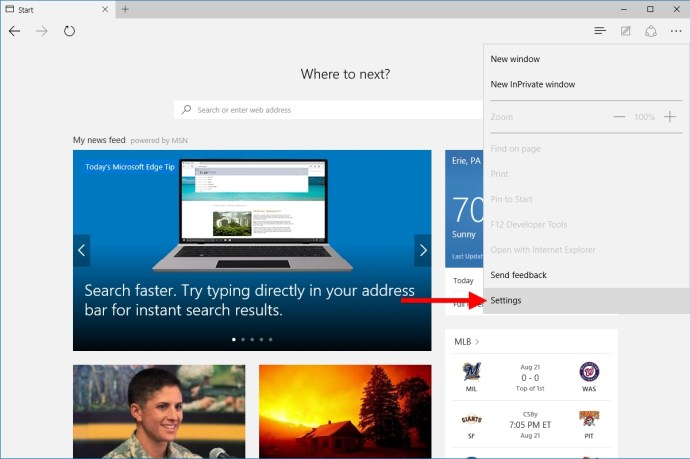 microsoft edge more actions settings