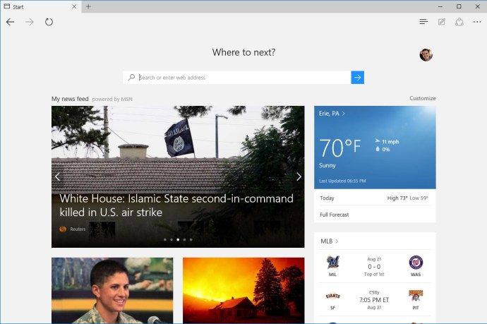 microsoft edge start page