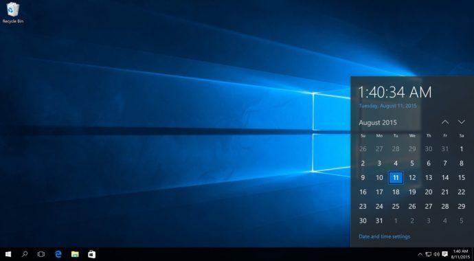 windows 10 taskbar clock and date