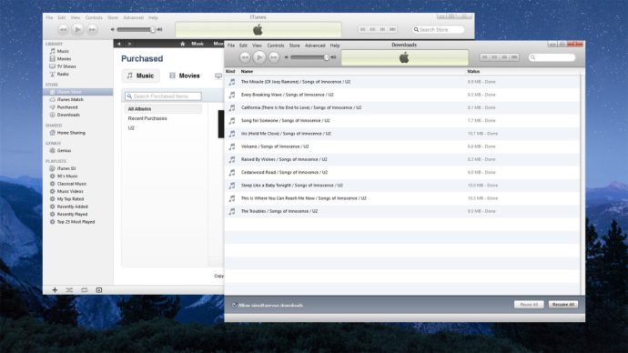 itunes 10 separate download window