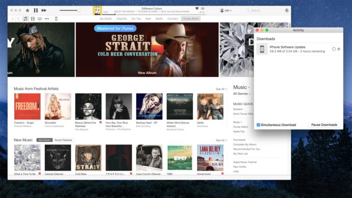 itunes 12 separate download window