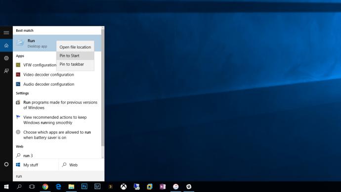 windows 10 run command pin to start