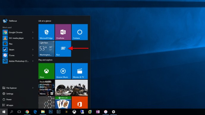 windows 10 run command start menu tile