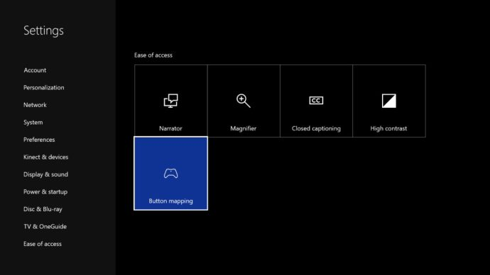 xbox one button mapping settings
