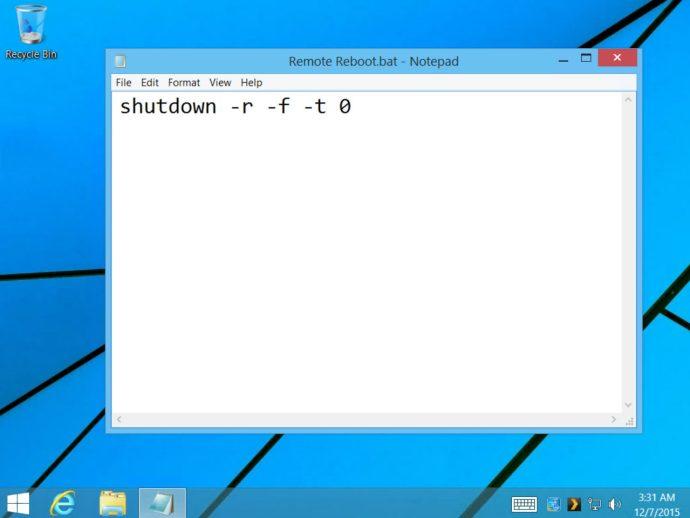 create reboot batch file