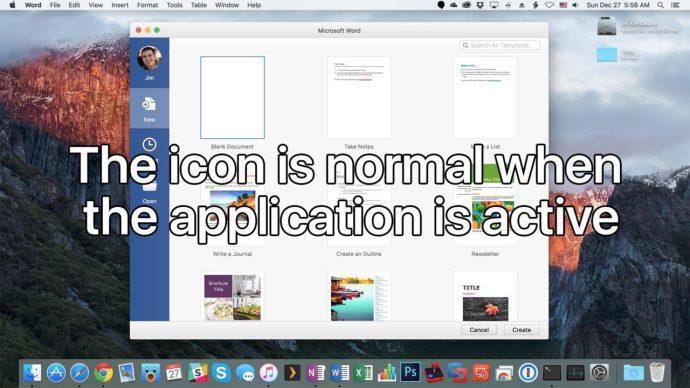 mac app icon active