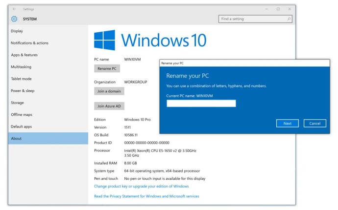 rename pc windows 10 settings