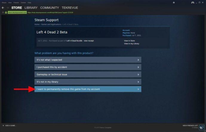 remove game steam library