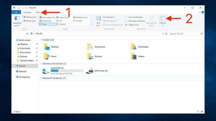 windows 10 file explorer options