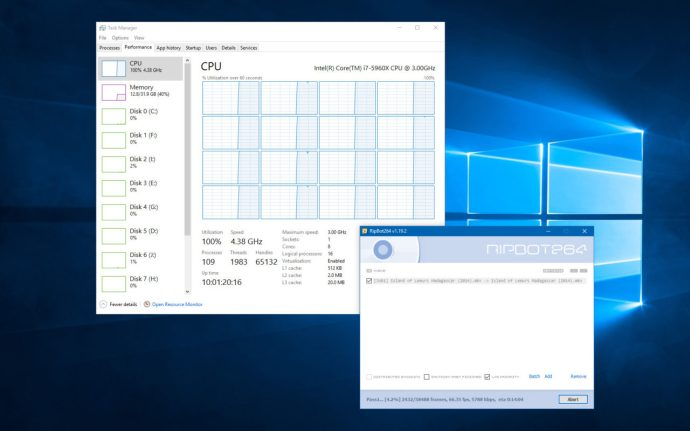windows task manager all processors